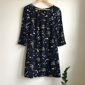 Navy floral print Ann Taylor swing dress with belt